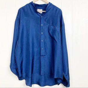 Vintage silk blouse with mandarin collar
